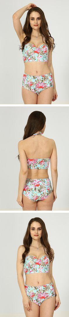 Red Floral High Waist Bikini Bikini For Women, Halter Bikini, Bikinis, Swimwear, High Waist, Floral, Red, Shopping, Fashion
