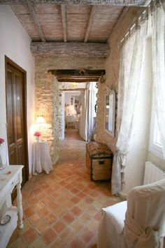 floors, stone walls and curtains