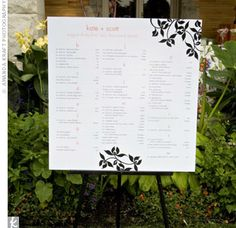 table assignment menu (not this style) but framed in flowers