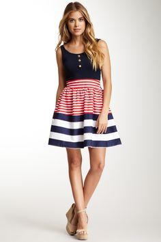 Bodice:  solid; Skirt:  horizontal stripes with contrasting horizontal border. Flag Stripe Dress
