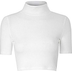 White Turtle Neck Crop Top (78 HRK) ❤ liked on Polyvore featuring tops, crop tops, shirts, t-shirts, white, crop top, polyester shirt, white top, short crop tops and white turtleneck shirt