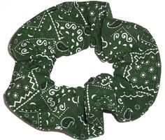 Bandana Print Cotton Fabric Hair Scrunchie Handmade by Scrunchies by Sherry (Hunter Green) >>> Read more  at the image link.