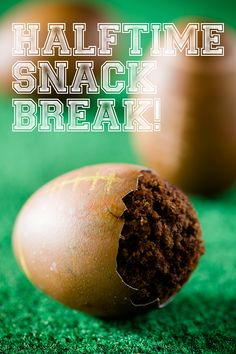 Chocolate cupcakes baked inside of egg shells dyed to look like footballs - crack the shell to eat the cupcake!