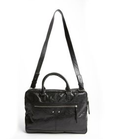 Balenciaga : black grained leather zipper detail shoulder bag : style # 332395101 $1055