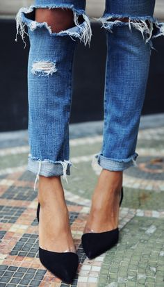 distressed denim and pumps