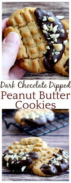 The dark chocolate on these Dark Chocolate Dipped Peanut Butter cookies takes a classic peanut butter cookie recipe up a notch! The cookies are crunch and delicious and the dark chocolate is super indulgent! Such an easy recipe! Best Cookie Recipes, Fudge Recipes, Chocolate Recipes, Dessert Recipes, Party Desserts, Recipes Dinner, Breakfast Recipes, Halloween Desserts, Winter Desserts
