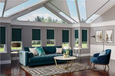 Luxe Deco trend. Duette® blinds in stunning Brittany Blue from Apollo Blinds. Energy saving blinds. Conservatory blinds. Contemporary blue home decor inspiration. Jewel coloured velvet home decor. Art Deco inspired prints. Classic glamour.