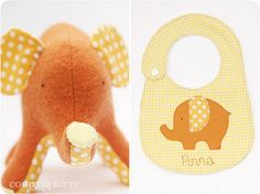 orange elephant and bib | por countrykitty