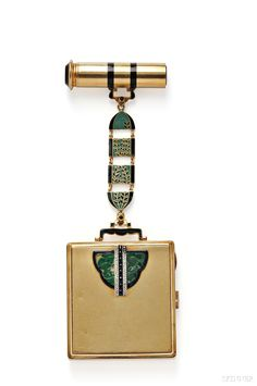 Art Deco Lady's 18kt Gold, Enamel, and Jade Compact and Lipstick Case  | Skinner Auctioneers