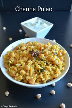 Channa Pulao/ Chickpeas Pulao- Flavorful one pot meal made with garbanzo beans/ Chickpeas with mild spices. Healthy and is Vegan.