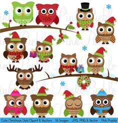 Süße Weihnachten Eule Clipart ClipArt Winter Eulen von PinkPueblo