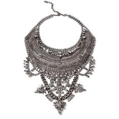 DYLANLEX Ryker Crystal Statement Necklace featuring polyvore, women's fashion, jewelry, necklaces, accessories, silver, layered necklace, layered chain necklace, double layer necklace, chain necklace and multi layer chain necklace