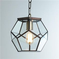 Clear Glass Prism Pentagon Pendant Light | shades of light | $130