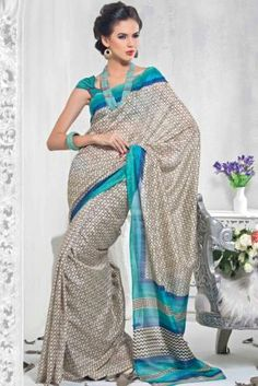 Grey Faux Georgette Saree
