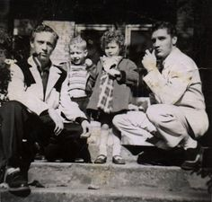 Elvis and his cousin Gene Smith with neighbours David and Debbie Fruchter, 462 Alabama Avenue, Memphis - ca. April 1953