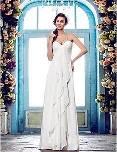 LAN TING BRIDE Sheath / Column Wedding Dress - Classic & Timeless Glamorous & Dramatic Simply Sublime Floor-length Spaghetti Straps