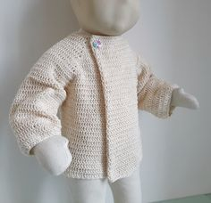 22 - Patron tutoriel de pull  à col plié pour bébé au crochet - tailles 3 mois à 2 ans