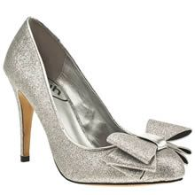 VEE Silver Schuh Bree Bow Court Glitter