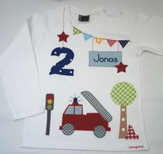 Langarmshirts - Geburtstagsshirt-Meine kleine Feuerwehr - ein Designerstück von wohnzwerg bei DaWanda