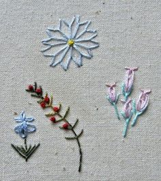 needlework-tips-and-techniques :: FLY STITCH - Simple Stitch for small flowers such as Dandelion clock, Calyx for detached chain Rose buds, a Spiky branch with Berries...