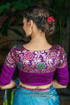 Banarasi yellow blouse for blue Saree Blouse Neck Designs, Fancy Blouse Designs, Indian Blouse Designs, Stylish Blouse Design, Designer Blouse Patterns, Blouse Models, Yellow Blouse, Sarees, Embroidered Blouse