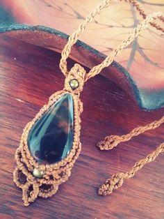Handmade macrame pendant necklace with Stromatolite // by Maki Handmade