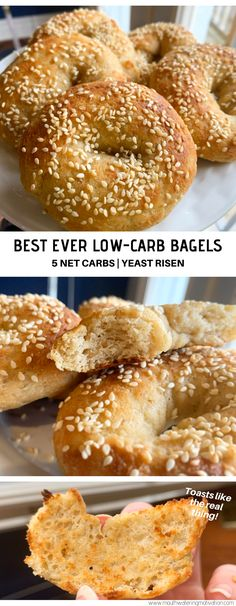 Low Carb Bagels (Yeast Risen), made with almond flour, vital wheat gluten and yeast. Easy to prepare and taste delicious! A perfect keto breakfast. Low Carb Chicken Recipes, Healthy Low Carb Recipes, Low Carb Dinner Recipes, Protein Recipes, Diet Recipes, Seitan Recipes, Diet Desserts, Keto Chicken, Dessert Recipes