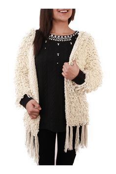 Gilet femme bergère Beige - Zonedachat.com Blouse, Long Sleeve, Sleeves, Sweaters, Tops, Women, Fashion, Fringe Coats, Wool