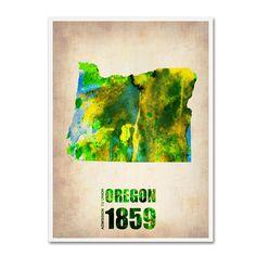 Trademark Fine Art Naxart 'Oregon Watercolor Map' Canvas Art