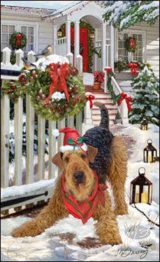 --Airedale Terrier - Good Tidings and Cheer
