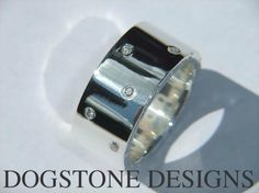Men's Chunky Silver Diamond Dogstone Ring  Contact - 0161 491 0624