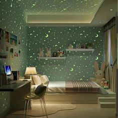 Luminous Stars And The Moon For Boys Girls Bedroom Wallpaper For Walls Starry Themed Wall papers Home Decor For Kids Room Girls Bedroom Wallpaper, 3d Wallpaper For Walls, Wallpaper Stores, Wallpaper Ideas, Boy Girl Bedroom, Baby Room Decor, Wall Decor, Small Living Rooms, Cool House Designs