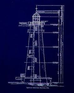 Old New Jersey Lighthouse-Blueprint- Poster