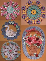 Crochet Patterns - More Vintage Floral Doilies. //  LOVE THE SWAN & THE BOUQUET OF FLOWERS! A Crochet Quilt, Crochet Flower Patterns, Crochet Tablecloth, Thread Crochet, Crochet Doilies, Crochet Flowers, Crochet Stitches, Crochet World, Crochet Home