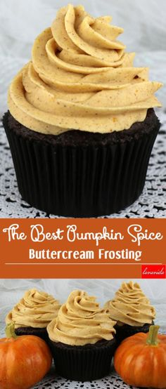 Use these reusable and nonstick baking cups to make these cupcakes. http://amzn.to/2cROdCM Pumpkin Frosting Recipe, Pumpkin Dream Cake Recipe, Homemade Buttercream Frosting, Cupcake Frosting Recipes, Cupcake Cakes, Easy Frosting For Cupcakes, Icing Frosting, Cake Icing, Cookies And Cream Frosting