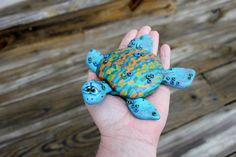 Turquoise Sea Turtle Polymer Clay Sculpture by mirandascritters,