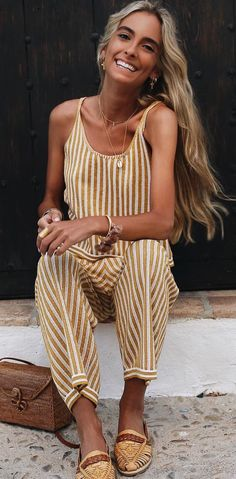 summer outfits  Yellow Striped Jumpsuit