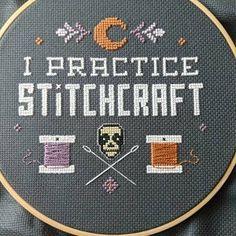 I Practice Stitchcraft Gothic Cross Stitch Pattern Wiccan Modern Cross Stitch, Cross Stitch Kits, Cross Stitch Designs, Funny Cross Stitch Patterns, Cross Stitch Borders, Cross Stitching, Cross Stitch Embroidery, Embroidery Patterns, Ribbon Embroidery