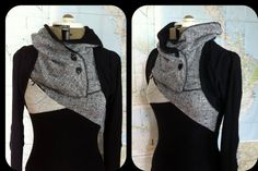 black lightweight sweater with buttoned cowl and van sewmoe op Etsy