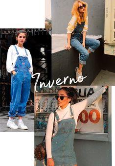 Para o inverno, o modelo longo é perfeito sobreposto a tricot, moletom ou com jaqueta. Se o inverno não for tão frio - como sabemos que acontece em muitos lugares do nosso Brasilzão - dá para investir no modelo de saia com uma turtleneck por baixo. inverno - jardineira - looks - copiar - trend Jeans Tumblr, Simple Style, Style Me, World Trends, 90s Fashion, Ideias Fashion, Overalls, Street Style, Retro
