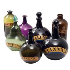 Wonderful Collection of 7 English 19th Century Coloured Glass Pharmaceutical Jars | From a unique collection of antique and modern glass at http://www.1stdibs.com/furniture/dining-entertaining/glass/
