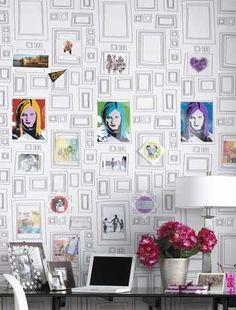 brown wallpap, kid bedrooms, kid idea, wallpap inspir, kid rooms, kids, bathroom walls, wood frames, kid bathrooms