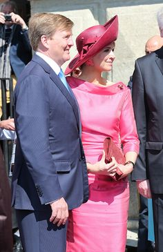 King Willem-Alexander and his wife Queen Maxima of the Netherlands during a two-day visit in Bavaria to strengthen the relationship between the Bavaria and the Netherlands on April 13, 2016 in Munich, Germany.
