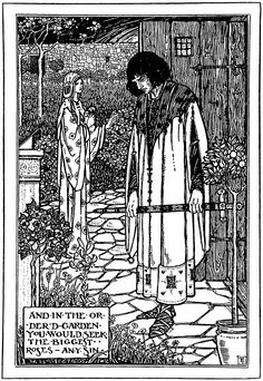 """and in the order's garden you would seek … Illustration by Florence Harrison from ""Early poems of William Morris"" (1914)"