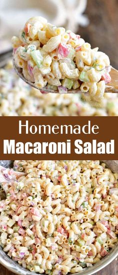 You can't have a BBQ party or a potluck without some delicious Macaroni Salad. No need to get it at the store because it is so easy to make with a few simple ingredients. This is our favorite Macaroni Salad full of red onions, celery, bell peppers, herbs, and of course, delicious creamy dressing. Homemade Macaroni Salad, Amish Macaroni Salad, Macaroni Pasta, Yummy Pasta Recipes, Fruit Salad Recipes, Dinner Recipes, Cooking Recipes, Rice Side Dishes, Side Dishes Easy