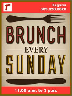 Sunday plans?  Brunch is back!  (4/12/5) #Tagaris #wines #winery #brunch #Tri-Cities #Richland #Washington #WA