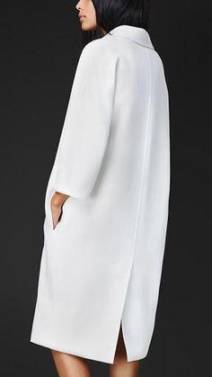White Cashmere Coat - minimal fashion; understated elegance // Burberry Prorsum