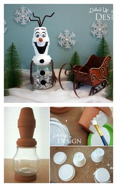 Clay Pot Projects, Clay Pot Crafts, Diy Clay, Diy And Crafts, Crafts For Kids, Diy Christmas Fireplace, Christmas Clay, Pots D'argile, Clay Pots