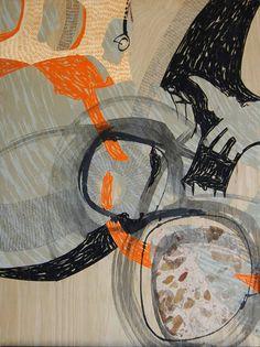 Steph Houstein: Bonescape 84, 2014, u/s, 56x76cm, silkscreen and mixed media on ply.