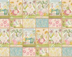 Panel de tela de patchwork con 8 figuras con motivos de costura u otras manualidades 30x110cm aproximadamente.  Colección The Makers de Cori Dantini.